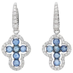 0.49 White GVS Diamonds 1.58 Rose Cut Blue Sapphires 18Kt Cross Dangle Earrings