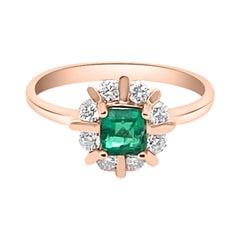 0.49ct Natural Emerald 14K Rose Gold Ring
