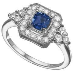 0.5 Carat 14 Karat White Gold Cushion Sapphire Art Deco Style Engagement Ring