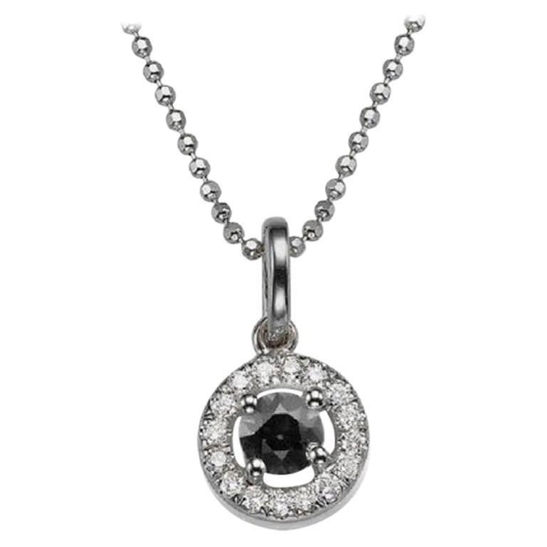 Round Cut 0.5 Carat 14 Karat White Gold Round Black Diamond Necklace with Accents For Sale