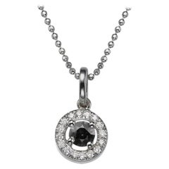 0.5 Carat 14 Karat White Gold Round Black Diamond Necklace with Accents