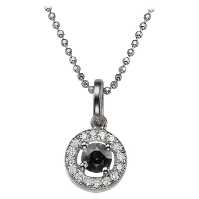 0.5 Carat 14 Karat White Gold Round Black Diamond Necklace with Accents For Sale