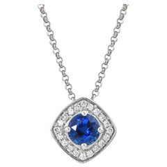 0.5 Carat Blue Sapphire and Diamond Pendant with Chain in 18 Karat White Gold
