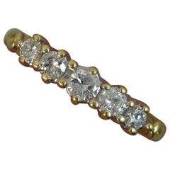 0.5 Carat Diamond 18 Carat Gold Five-Stone Stack Ring