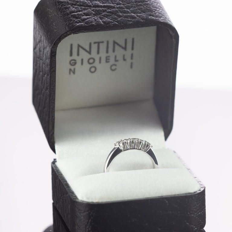 0.5 Carat Diamond Radiant Line Band 18 Karat Gold Wedding Engagement Ring For Sale 4