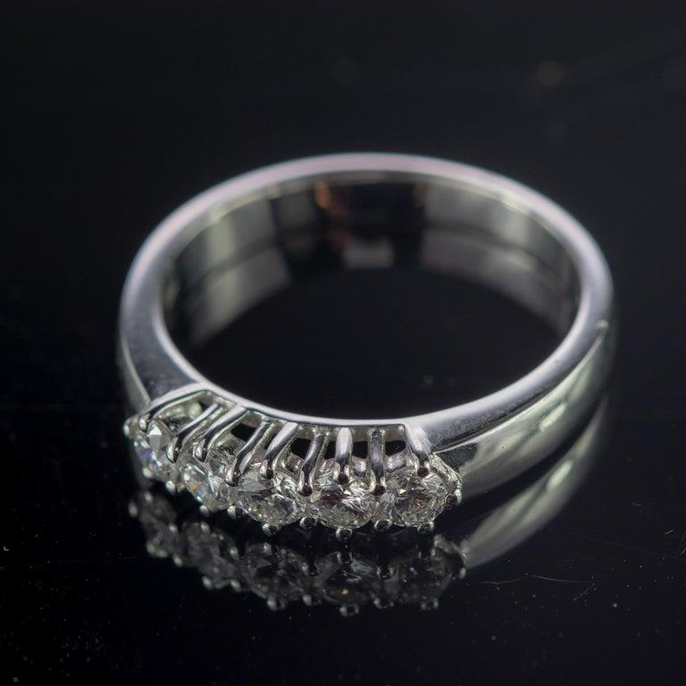 0.5 Carat Diamond Radiant Line Band 18 Karat Gold Wedding Engagement Ring For Sale 1