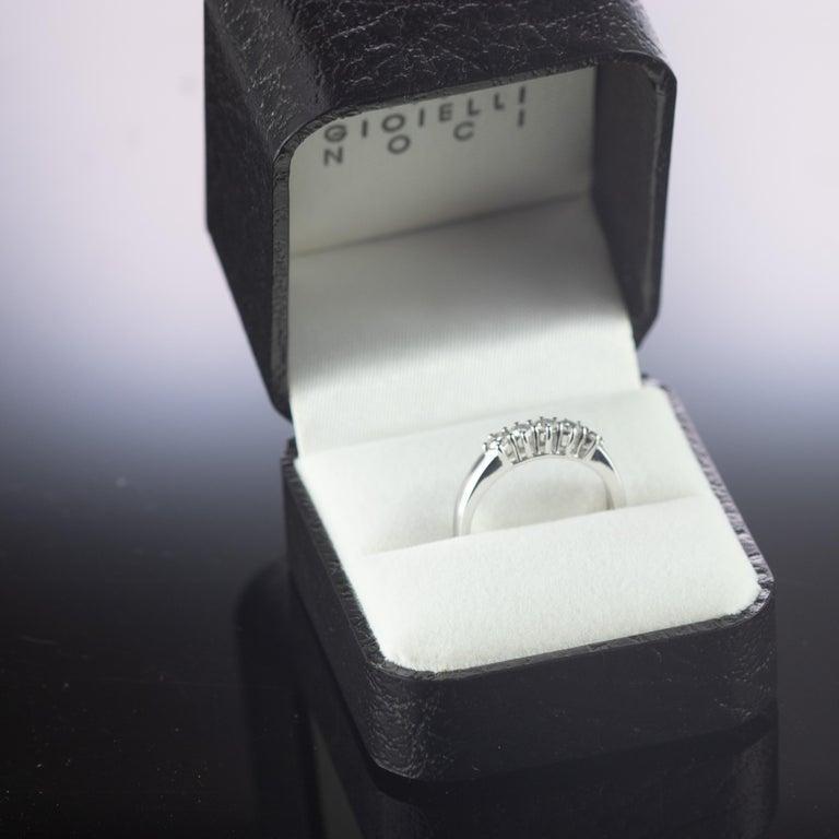0.5 Carat Diamond Radiant Line Band 18 Karat Gold Wedding Engagement Ring For Sale 3