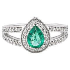 0.5 Carat Emerald and White Diamond Ring in 14 Karat White Gold
