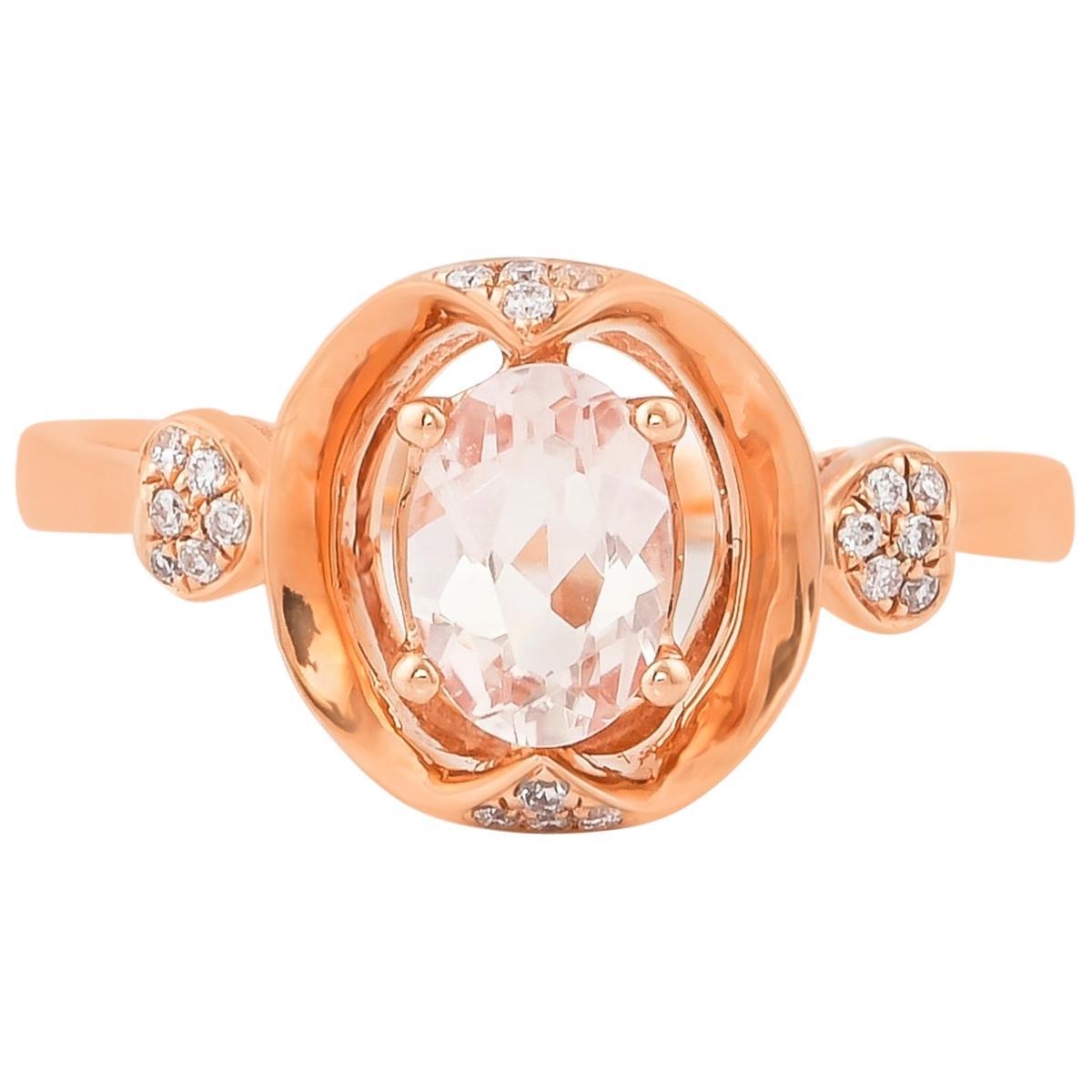 0.5 Carat Morganite and Diamond Ring in 18 Karat Rose Gold
