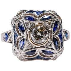0.5 Carat Sapphire 0.7 Carat Diamond 18K White Gold Engagement Ring New Art Deco