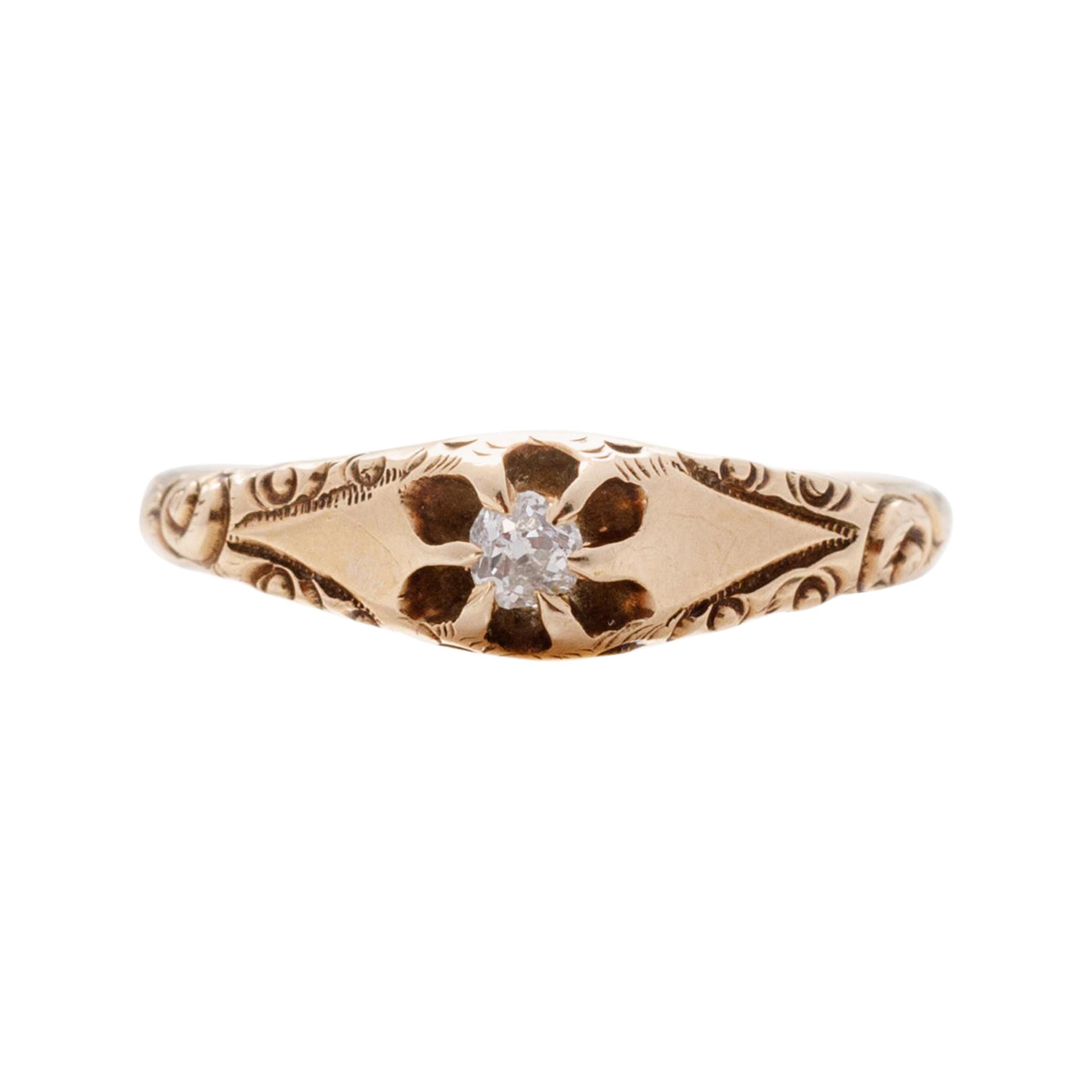 .05 Carat Victorian Diamond 14 Karat Yellow Gold Engagement Ring