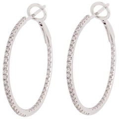 0.50 Carat '1/2 Carat' Diamond Inside Out Hoops, Diamond Hoops