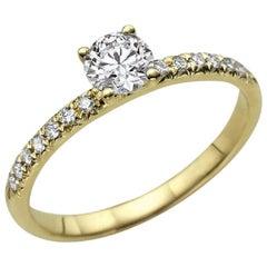 0.50 Carat 14 Karat Yellow Gold Round Diamond Ring, Classic Ring