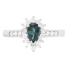 0.50 Carat Natural Alexandrite and Diamond Ring