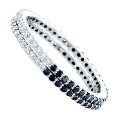 0.50 Carat Black and White Diamond Band Ring Set, 14K White Gold