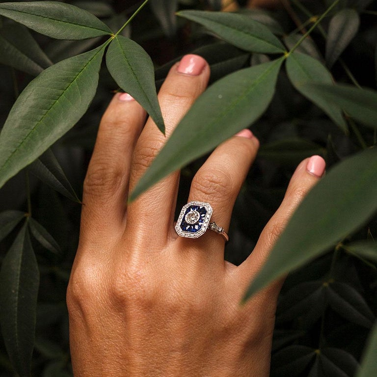 0.50 Carat Certified Diamond and Blue Sapphire 18 Carat White Gold Ring For Sale 5