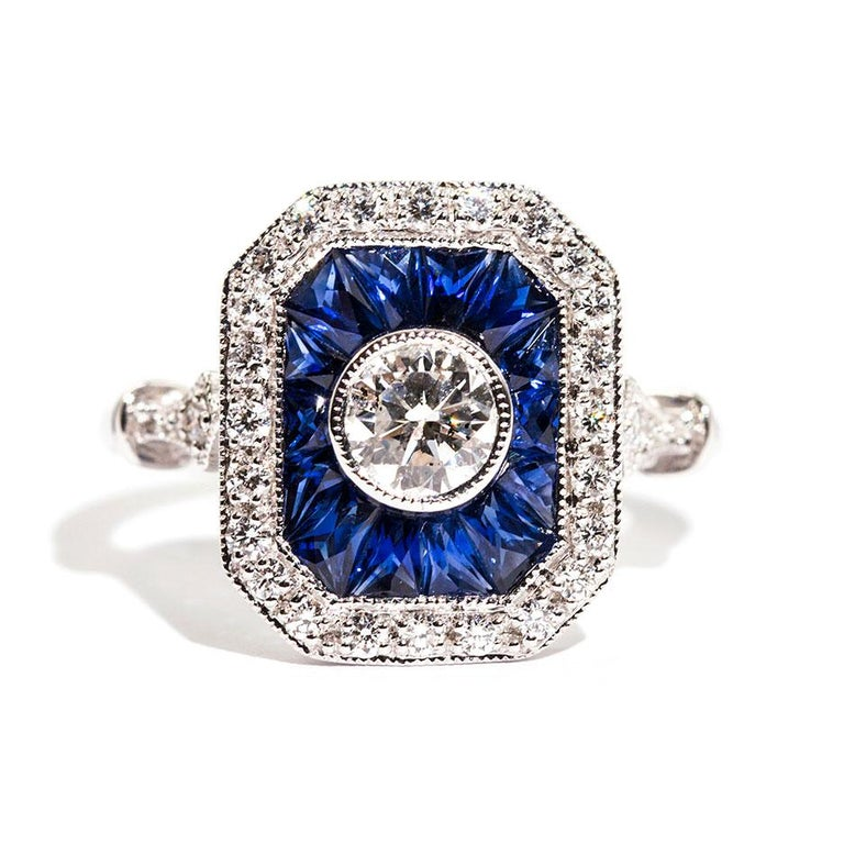 0.50 Carat Certified Diamond and Blue Sapphire 18 Carat White Gold Ring For Sale 6