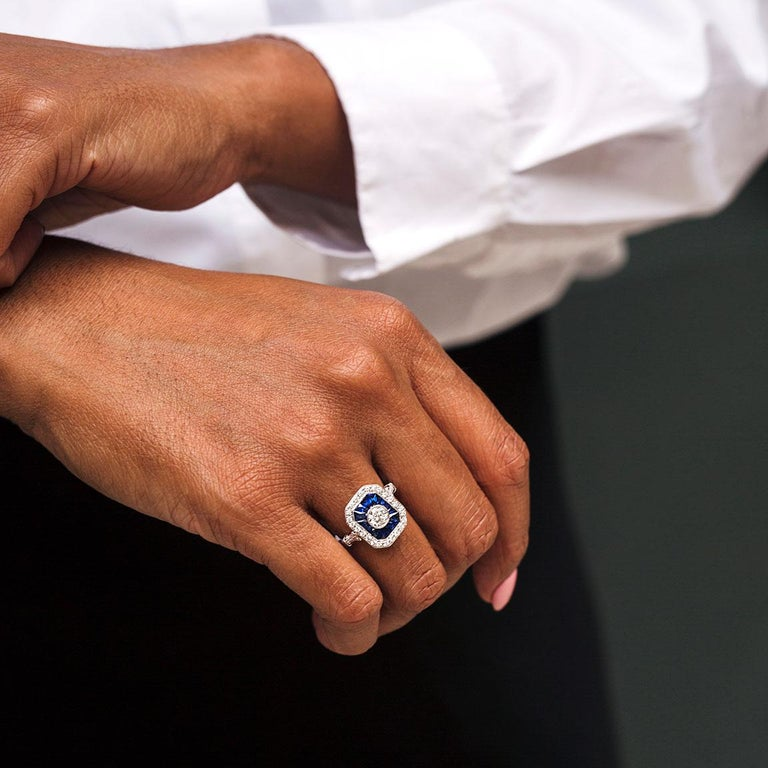 0.50 Carat Certified Diamond and Blue Sapphire 18 Carat White Gold Ring For Sale 7