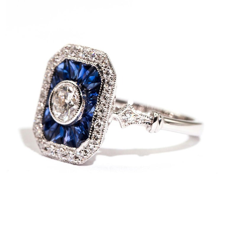 Women's 0.50 Carat Certified Diamond and Blue Sapphire 18 Carat White Gold Ring For Sale