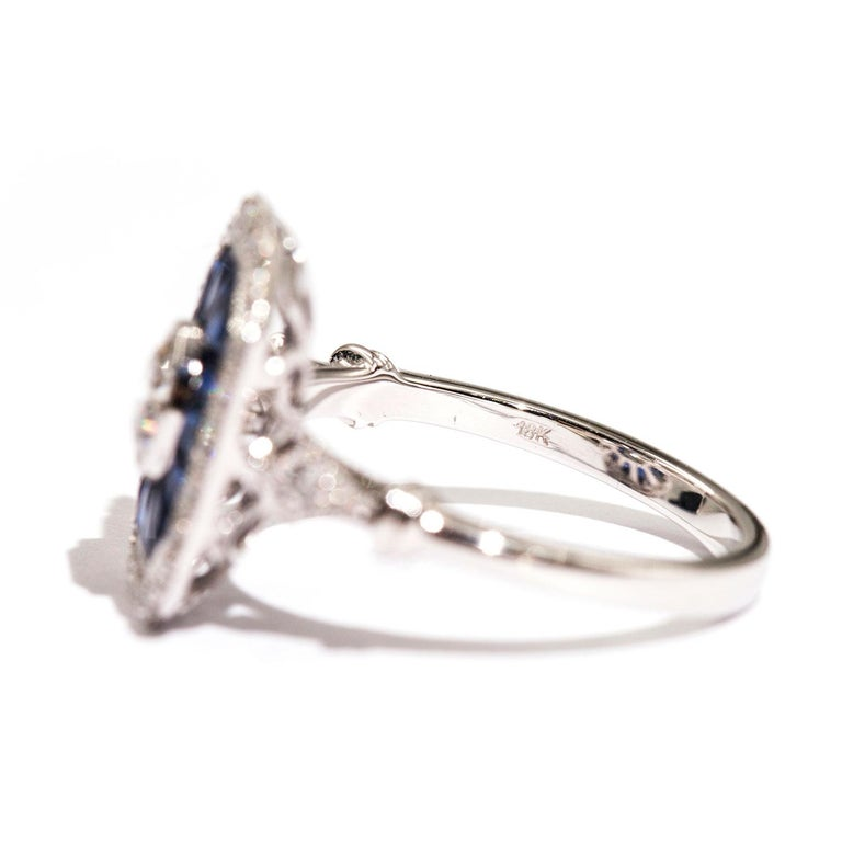 0.50 Carat Certified Diamond and Blue Sapphire 18 Carat White Gold Ring For Sale 1