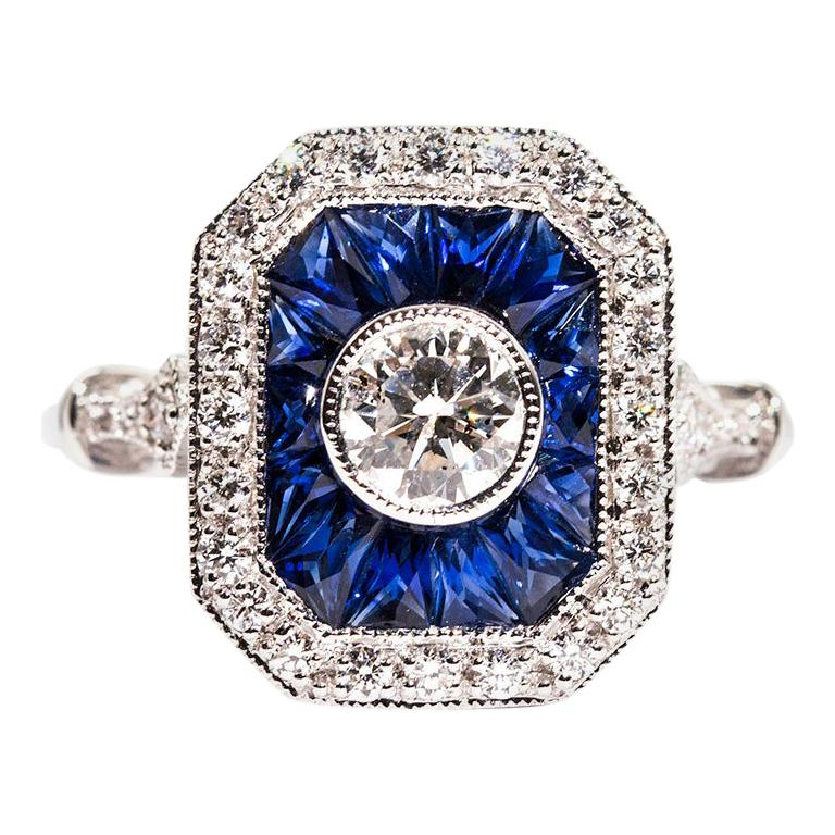 0.50 Carat Certified Diamond and Blue Sapphire 18 Carat White Gold Ring For Sale