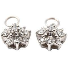 0.50 Carat Diamond 14 Karat White Gold Flower Charms