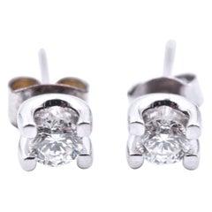 0.50 Carat Diamond 14 Karat White Gold Stud Earrings