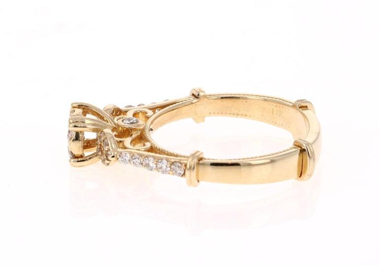 Modern 0.50 Carat Diamond 14 Karat Yellow Gold Ring For Sale