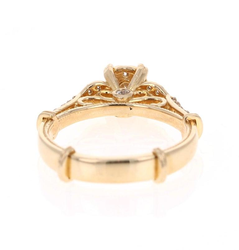 Round Cut 0.50 Carat Diamond 14 Karat Yellow Gold Ring For Sale