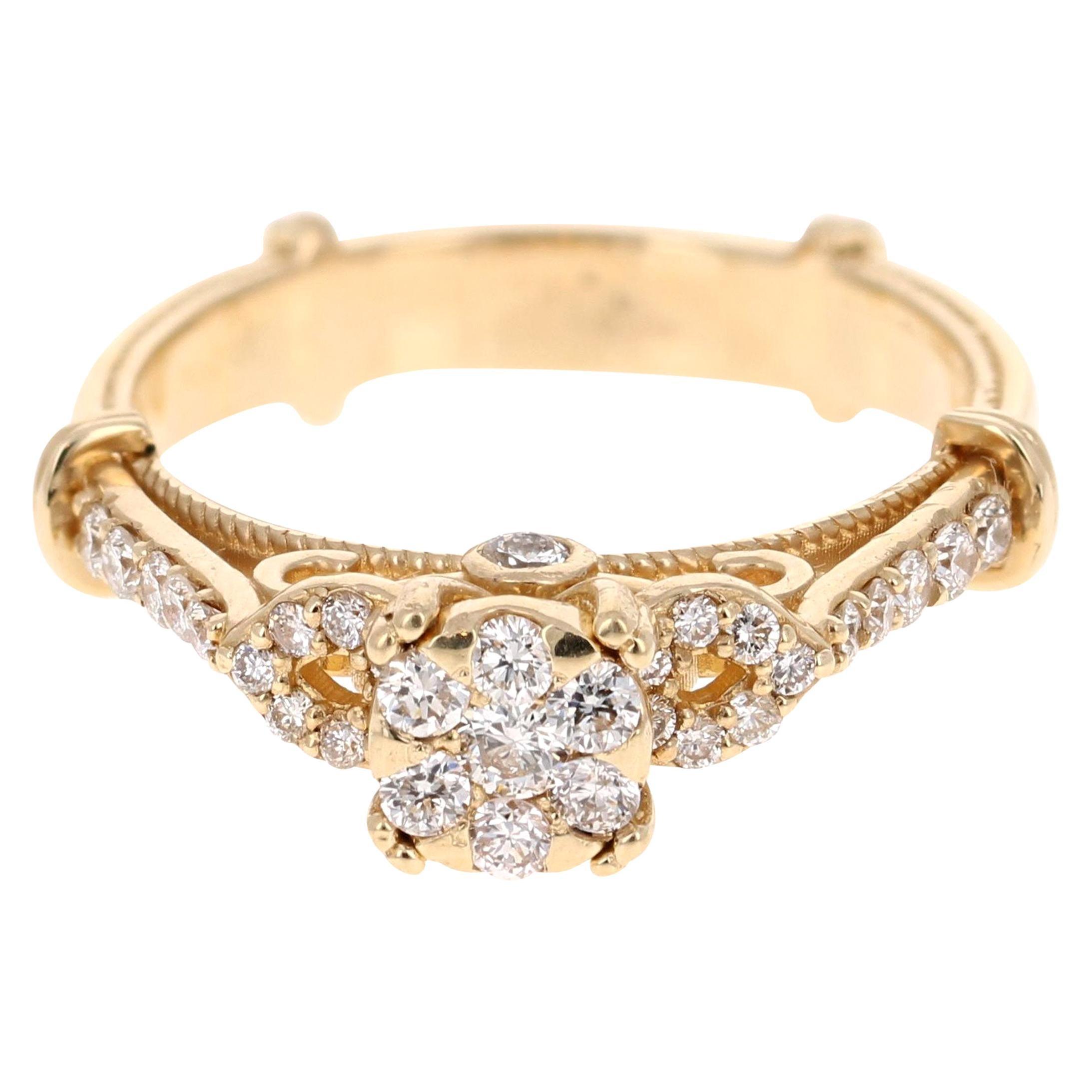 0.50 Carat Diamond 14 Karat Yellow Gold Ring