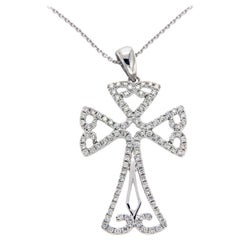 0.50 Carat Diamond 18 Karat Gold Open Cross Pendant 14 Karat Gold Chain Necklace