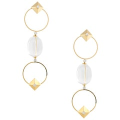 0.50 Carat Diamond Accent Crystal Bead Earrings 18 Karat in Stock