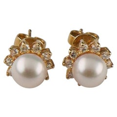 0.50 Carat Diamond and Pearl Solitaire Earrings in Yellow Gold