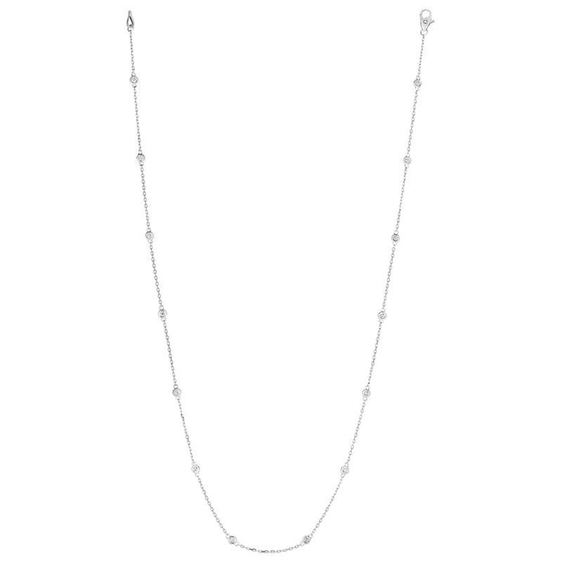 0.50 Carat Diamond by The Yard Necklace G SI 14 Karat White Gold 14 Stones