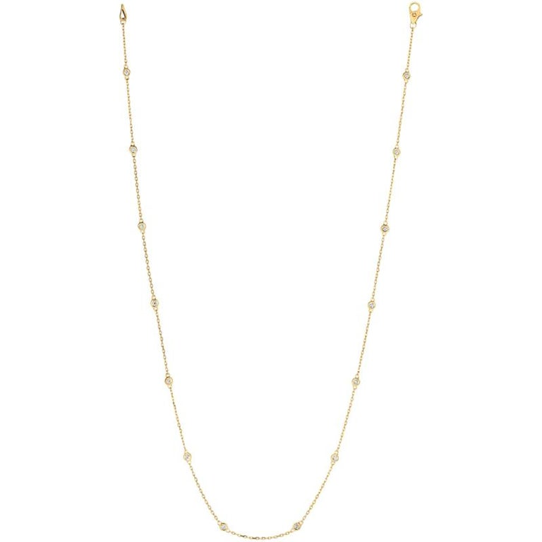 0.50 Carat Diamond by the Yard Necklace G SI 14 Karat Yellow Gold 14 Stones For Sale