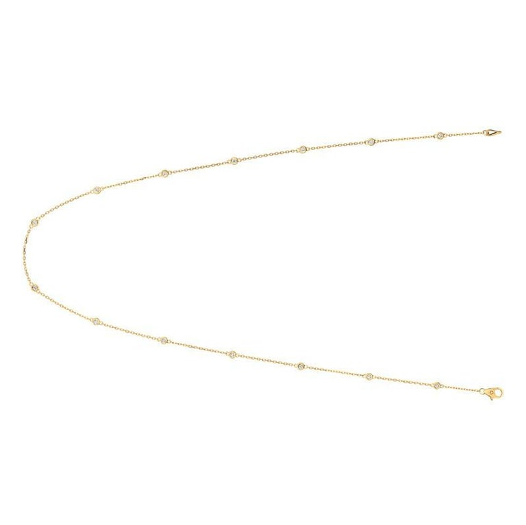 0.50 Carat Diamond by the Yard Necklace G SI 14K Yellow Gold 14 stones 18 inches      100% Natural Diamonds, Not Enhanced in any way Round Cut Diamond by the Yard Necklace       0.50CT     G-H      SI       14K Yellow Gold, Bezel style      18