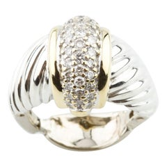 0.50 Carat Diamond Cluster Ring in Two-Tone Gold
