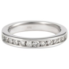0.50 Carat Diamond Eternity Band Channel Set 18 Karat White Gold Half Band