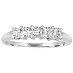 0.50 Carat Diamond Gold Princess Cut Five-Stone Half Band Ring
