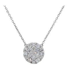 0.50 Carat Diamond Round Cluster Pendant Necklace 14 Karat in Stock