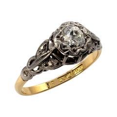 0.50 Carat Diamond Solitaire Engagement Ring 18 Karat Gold Platinum circa 1930's