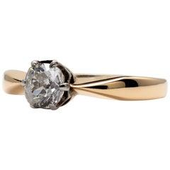 0.50 Carat Diamond Solitaire Engagement Ring 18 Karat Gold, circa 1970s