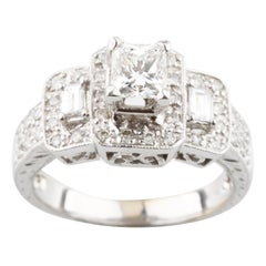 0.50 Carat Diamond Solitaire Three-Stone Ring in White Gold