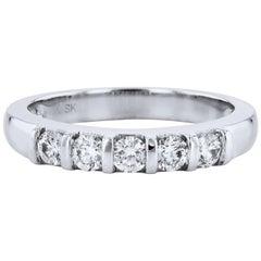 0.50 Carat Diamond White Gold Band Ring