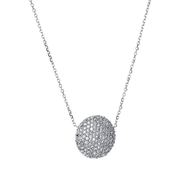 050 carat diamond white gold disc pendant necklace for sale at 1stdibs 050 carat of pave set diamond adorn a 14 karat white gold round disc in aloadofball Choice Image