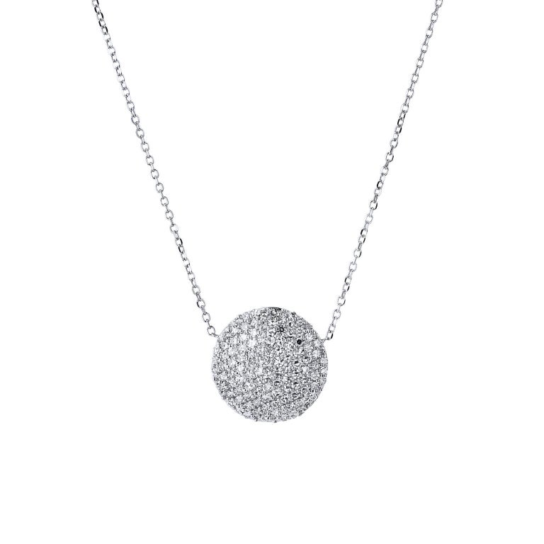 0.50 Carat Diamond White Gold Disc Pendant Necklace