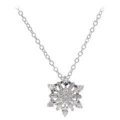 0.50 Carat Estate Vintage Diamond Snowflake Necklace 14 Karat White Gold