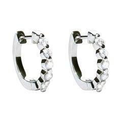 0.50 Carat F VS Diamond 18 Karat White Gold Huggie Earrings Natalie Barney