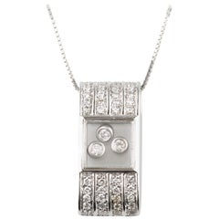0.50 Carat Floating Diamonds Pendant Set in 14 Karat White Gold with Chain