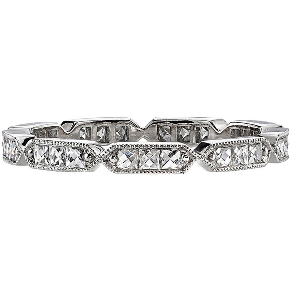0.50ctw French Cut Diamonds Set in a Handcrafted Platinum Eternity Band